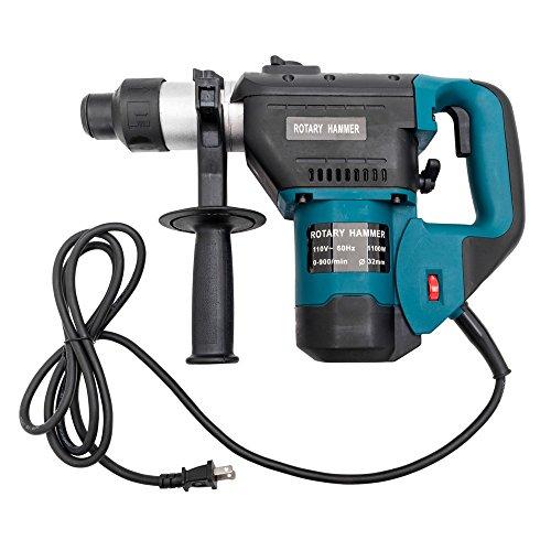 1-1/2' SDS Electric Hammer Drill Set, 1100W 110V, Plastic &Steel, Blue