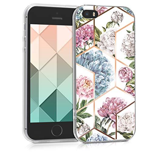 kwmobile Cover Compatibile con Apple iPhone SE (1.Gen 2016) / 5 / 5S - Back Case Custodia in Silicone TPU Cover Trasparente Glory Flowers Oro Rosa/Rosa/Blu Chiaro