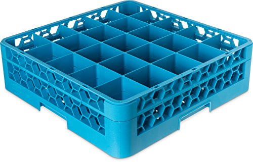 Carlisle RG25-114 OptiClean Polypropylene 25-Compartment Glass Rack with 1 Extender, 5.56