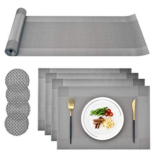 CCKOLE - Juego de tapetes de PVC Lavables para Mesa de Comedor, Resistentes al Calor, a Prueba de desgarros, 4 tapetes Individuales, 4 Posavasos y 1 Camino de Mesa para Cocina (Gris)