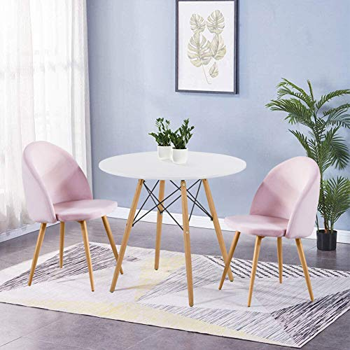 GOLDFAN Dining Table and 2 Chairs Kitchen Room Set Wooden Round Table Soft Velvet Chairs Office Furniture,80cm,Pink