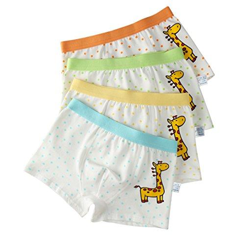 FAIRYRAIN 4 Packung Baby Kleinkind Mädchen Giraffenpunkte Baumwollunterhosen Pantys Hipster Shorts Spitze Unterwäsche 8-10 Jahre