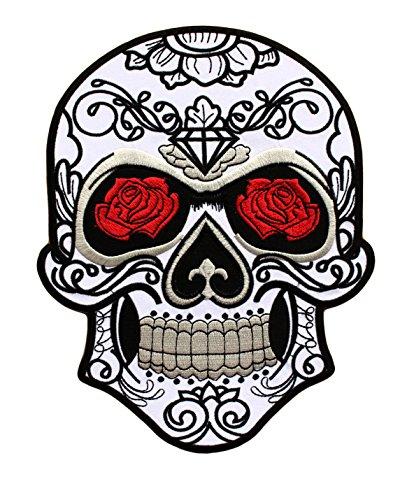 Parche Calavera Rosa Cráneo Biker - 24,5 cm x 19,3 cm XL Tamaño Grande - Parche para Ropa Parches Bordados Parche Termoadhesivo Aplicación Apliques Mochila Bolso Jeans Chaqueta - Treasure-Quest