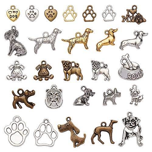 NBEADS Colgantes Aleatorios de Dijes de Perro Mixto, Alrededor de 83 Piezas Dog Theme Tibetan Style Pet Alloy Animal Jewellery Chain Colgantes para Hacer Manualidades DIY, Estilo Mezclado