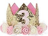 Hitopin 1 Piezas Corona de Cumpleaños de Bebé con Números'3' Estilo Princesa Bebé Flor Corona Corona Diadema Cumpleaños Accesorios para el Cabello (Rosa)