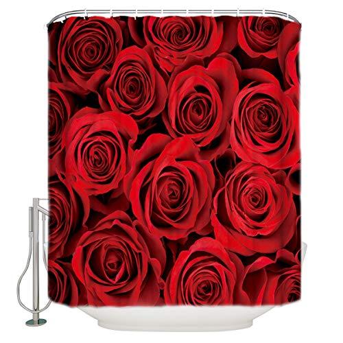 Vandarllin Home&Family Waterproof Fabric Bathroom Shower Curtain with Hooks Red Rose Flower Floral Print Design 66 x 72