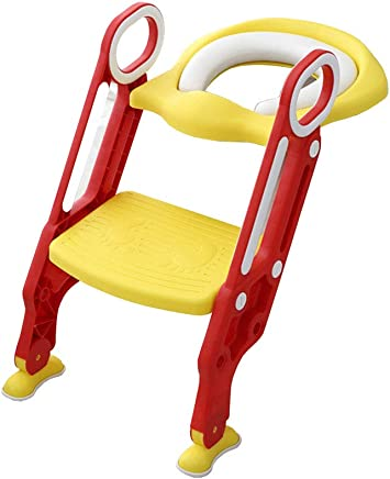 Kids Training Seat Adjustable Ladder Stool Potty Chair with Handles Splash Guard