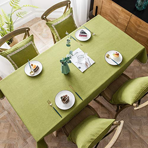 Rectangle Kitchen Dining Room Tablecloth Oilcloth Clean Table Cloth for Buffet Parties and Camping - Green, 55 x 79 inch, 5-7 Seats