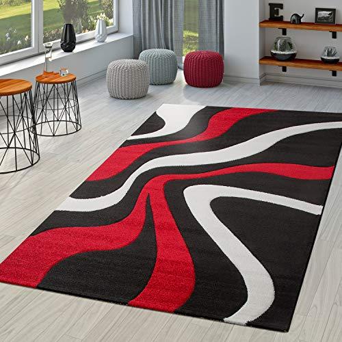 TT Home Alfombra De Salón En Rojo Negro Blanco Moderna con Perfil Contorneado, Größe:160x230 cm