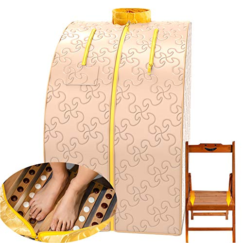ZYQDRZ Infrared Sauna Spa, Weight Loss Sauna, Body Detoxification, Relaxation at Home, Handheld Remote Control, Heated Foot Pads and Chairs,Beige
