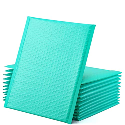 GSSUSA Teal Poly Bubble Mailers 8.5x12 Self-Seal Packaging Bags, Small Business Supplies, Padded Envelopes, Bubble Envelopes, Mailing Bags, Packaging for Small Business, Teal Bubble Mailer, 25 Pack