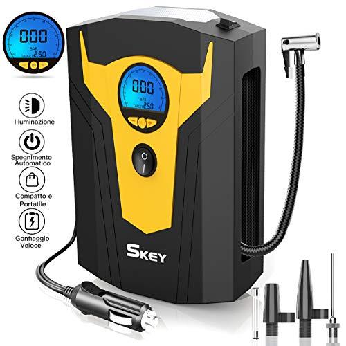 SKEY Compressore Aria Portatile Auto, DC 12V Mini Pompa Elettrica con Display Digitale è dotata di lampada LED Emergenza per Pneumatici di Auto, Moto, Biciclette, Sfera, Materasso