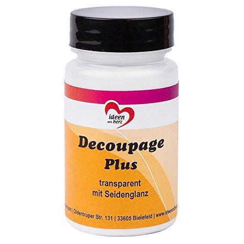 Decoupage Plus, transparent mit Seidenglanz, 90ml | Flüssigkleber und Lack in Einem | speziell für Reispapier, Papiere und Stoffe, Servietten, DIY | auf Waserbasis | auch ideal als Serviettenkleber
