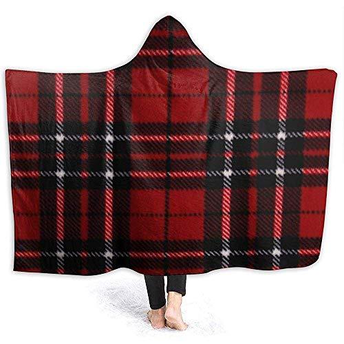 Henry Anthony Rot und Schwarz Plaid Hoodie Decke Coral Plush Ultra Soft Plüsch Freizeit Wear Hooded Throw Wrap