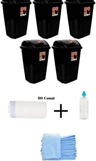 BLOSSOMZ' Pack of 5 Hefty Swing-Lid 13.5-Gallon Trash Can in Black Finish