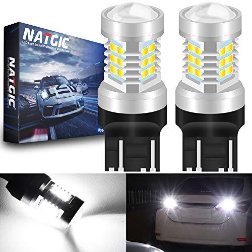 NATGIC 7443 7444NA 7441 992 T20 Ampoules LED Xenon White 21 - chipsets EX 2835 SMD avec lentille de projecteur pour Feux de recul de Queue de Frein, 10-16V 10,5W (Pack de 2)