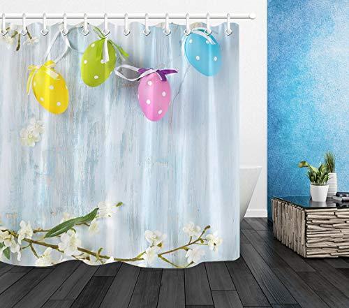 Rustikales Brett blüht bunten Ei-Ostern-Wasserdichten Gewebe-Duschvorhang