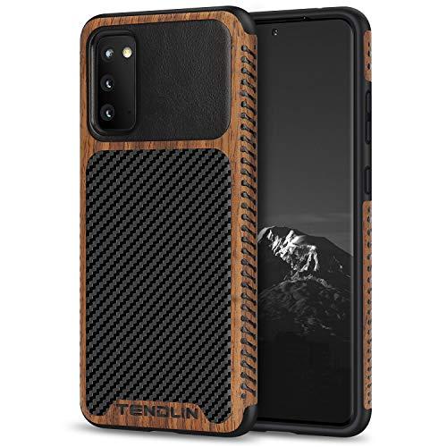 TENDLIN Cover Samsung Galaxy S20 Legno con Carbonio e Pelle Custodia Compatibile con Samsung Galaxy S20 (Nero)