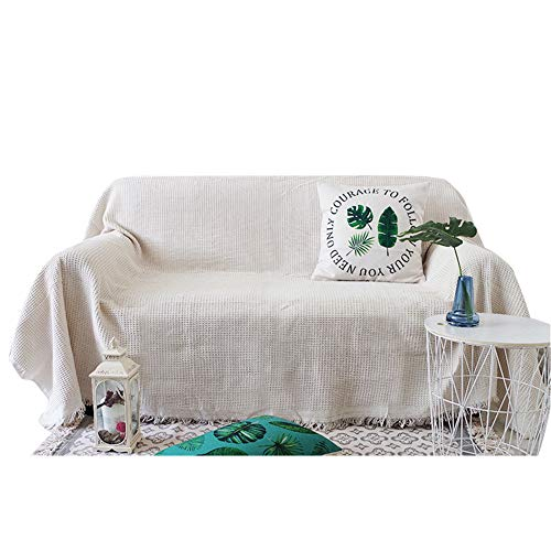 MENNING Manta de sofá de tela decorativa de tela para sofá con diseño de gofres