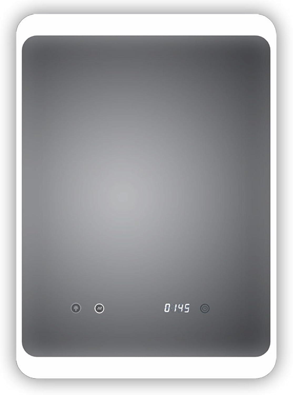 HOKO LED Bad Spiegel beleuchtet mit Digital Uhr und ANTIBESCHLAG SPIEGELHEIZUNG und digitaler Uhr, Kln 50x70cm, Licht seitlich, Oben und unten. Energieklasse A+ (WEEE-Reg. Nr.  DE 40647673)