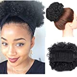 Afro Kinky Curly Updo Scrunchy Hair Bun Afro Puff Elastic Drawstring Ponytail With Clips For African American Black Women Synthetic Short Wrap Puff Ponytail Hair Extensions (Dark Black)