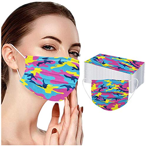 S Sunyokini 50 Pack Camouflage Disposable_Face_Masks, 3 Ply Pro_tection Dust Women Men Breathable Face Msaks for Working Mowing Running Cycling Outdoor School (50, D)