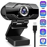 CLEEBOURG Webcams mit Mikrofon 1080P Full HD Webkamera PC Kamera für Videoanrufe, Live-Streaming, Studieren und Konferenzen Kompatibel mit Windows, Mac und Android