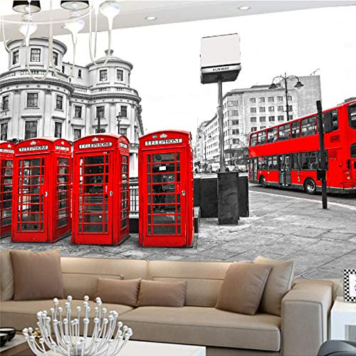 RTYUIHN London red Bus City Landscape Wallpaper Personality Retro Cafe Living Room Background 3D Mural Mural Wallpaper