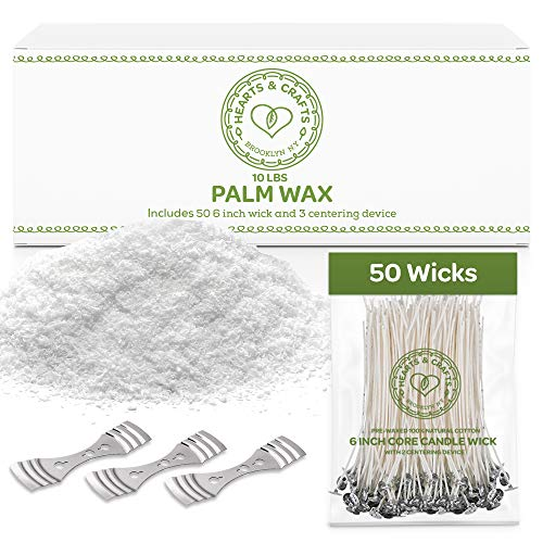 """Hearts and Crafts Feathering Palm Candle Wax and Wicks for DIY Candle Making, All-Natural & RSPO Certified - 10lb Bag with 50ct 6"""" Pre-Waxed Candle Wicks, 3 Centering Device"""