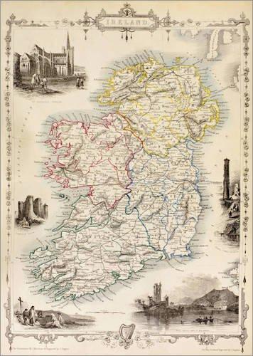 Posterlounge Acrylglasbild 50 x 70 cm: Karte von Irland von Thomas Wright (18. Jh.) von Ken Welsh/Design Pics - Wandbild, Acryl Glasbild, Druck auf Acryl Glas Bild