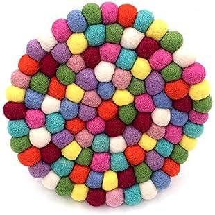 "Hand Made Wool Felt Balls Trivet Coasters placemats coffee Coasters Round 8"" Diameter Multi Color:Labuttanret"