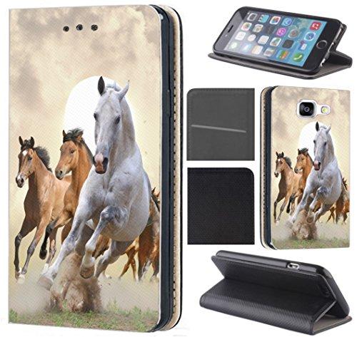 CoverFix Premium Hülle für Samsung Galaxy J5 (Modell 2017) J530F Flip Cover Schutzhülle Kunstleder Flip Case Motiv (1025 Pferd Pferde Braun Weiß)