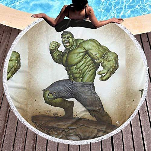 NULLYTG Toalla Playa Redonda Gran Potencia Hulk Toalla