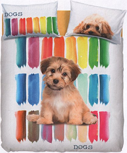 Bassetti Drap Color Dogs simple (dessus Drap 160 x 280 + 1 drap-housse 90 x 200 + 1 taie d'oreiller 50 x 80)