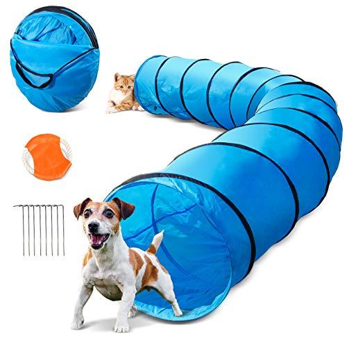 Masthome Hundetunnel 60cm x 505cm, Spielzeug Tunnel für Hunde und Katze mit 1 Fliegende Scheibe und Metalltülle,Outdoor Haustier Spielzeug