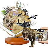 FUN GLOBE 3 in 1 Illuminated AR Explore The World Globe Desktop Decoration Geographic Earth Globes Office Supplies Holiday Gift with Adjustable LED & Light Music for Kids & Adult 5 in