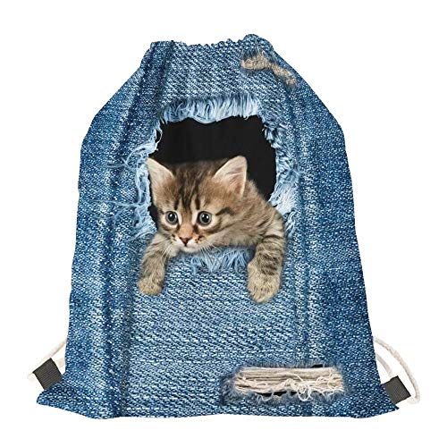 AFPANQZ Cat Drawstring Bag Gym Dance Backpack Small Lightweight Travel Bag for Kid Boys Girls Teenager Rucksack Sport Gym Shoulder Bag
