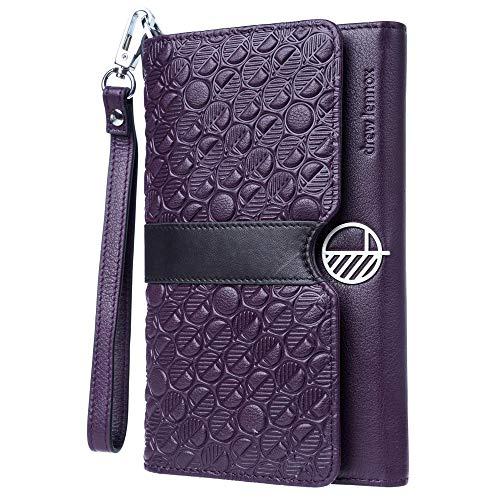 Drew Lennox Damen Clutch, Geldbörse, Handgelenktasche, Portemonnaie und Smartphonetasche - Luxus Echt Englisch Leder - Geprägte Silberne Geschenkbox - 9,9 x 11,5 x 19,2 cm - Majestätisch Lila
