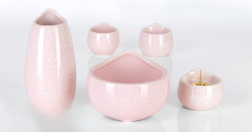 セメント塩辛い仲人陶器 しずく ピンク 5点セット 3.5寸