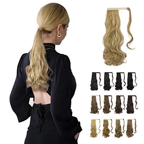BARSDAR Extensión de cola de caballo rizada, extensión de cabello ondulado largo envolvente, clip de pieza de cabello sintético en extensiones de cola de caballo para mujeres