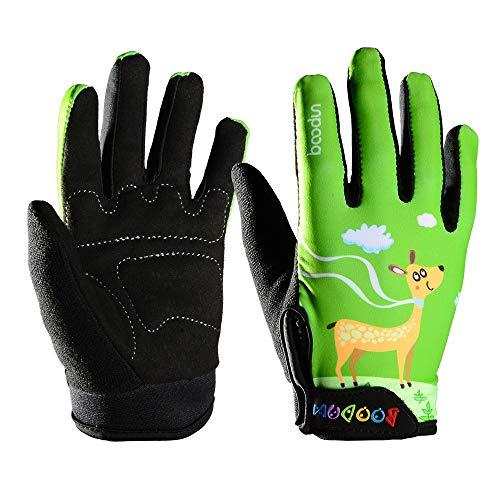 Radfahren Handschuhe für Kinder voller Finger Winter Fahrrad Fahrrad thermische Reiten Handschuhe Handschuhe winddicht atmungsaktiv Anti-Rutsch für Kinder Jungen Mädchen (Rentier Muster, grün)