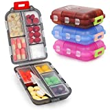 4 Pack Pill Case Portable Small Weekly Travel Pill Organizer Portable Pocket Pill Box Dispenser for Purse Vitamin Fish Oil Compartments Container Medicine Box by Muchengbao