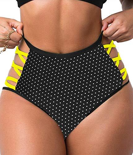 Womens Bikini Bottoms High Waisted Cut Out Sexy Tummy Control Classic Coverage Plus Size Beach Underwear Swim Shorts Brief Black Yellow L