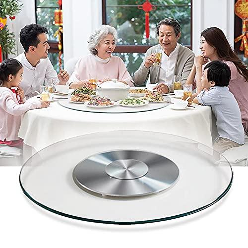 GDHY Lazy Susan 360°Drehbar Glas Drehplatte Runde Tische Servierteller Gehärtetes Glas Drehscheibe Kugellager Rotierend Plattenteller Für Familienessen