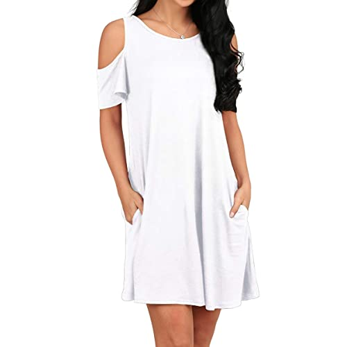 9f52d6d88fe9 OFEEFAN Women's Round Neck Cold Shoulder Short Sleeves Shift Dress White XL