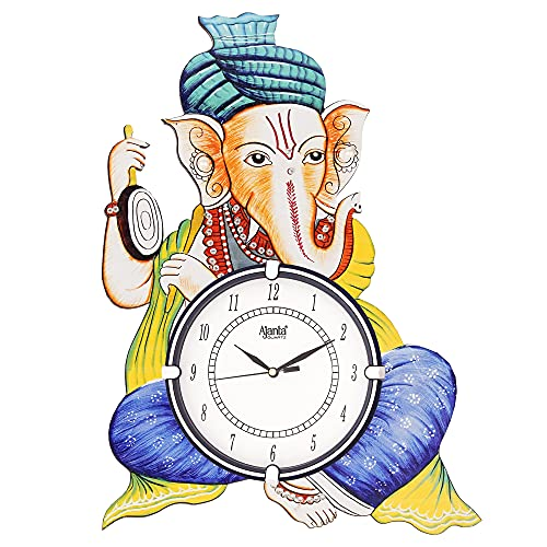 CIRCADIAN Ajanta Safa Ganesha Wooden Wall Clock for Home Living Room Office (Multicolour, 18 x 13 in)