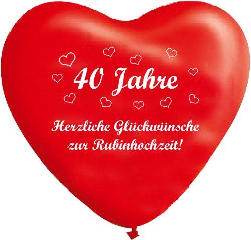 Unbekannt 10 rote Herzballons 40 Jahre - Rubinhochzeit, ca. 30 cm Durchmesser