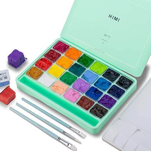 HIMI Gouache Paint Set, 24 Colors x 30ml Unique Jelly Cup Design with 3 Paint Brushes in a Carrying Case Perfect for Artists, Students, Gouache Opaque Watercolor Painting (Green)