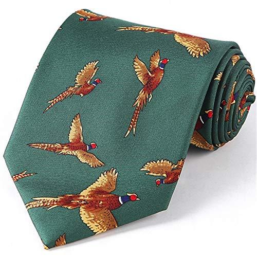 Silk Necktie Mens Fancy Animal Tie Printed Suit Dress Casual Party Necktie Cravat Hunting Shooting Accessory Pheasant