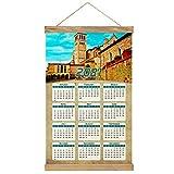 Italia Asís Basílica de San Francisco de Perugia Imprimir Póster Calendario de Pared 2021 12 Meses Pintura decorativa Cuadros Colgantes Lienzo Madera 20.4 'x 13.1' GL-Italy-3039